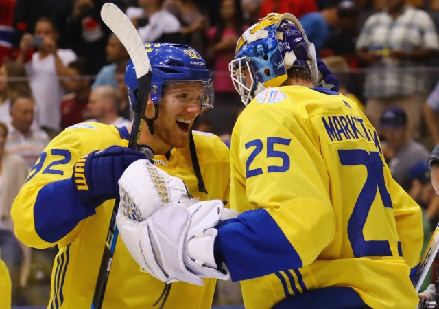 TORONTO, ON - SEPTEMBER 18: Gabriel Landeskog #92 and Jacob Markstrom #25 of Team Sweden celebrate their 2-1 victory over Team Russia during the World Cup of Hockey 2016 at the Air Canada Centre on September 18, 2016 in Toronto, Canada.  (Photo by Bruce Bennett/Getty Images)