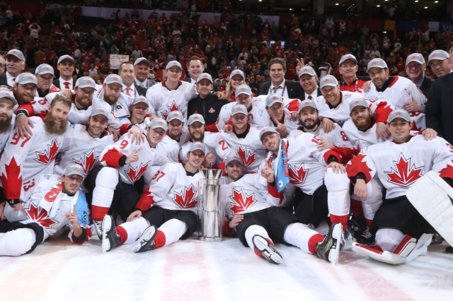 TORONTO, ON - SEPTEMBER 29: Team Canada celebrates after a 2-1 win over Team Europe during Game Two of the World Cup of Hockey final series at the Air Canada Centre on September 29, 2016 in Toronto, Ontario, Canada.  (Photo by Andre Ringuette/World Cup of Hockey via Getty Images)