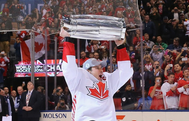 TORONTO, ON - SEPTEMBER 29:  Sidney Crosby #87 of Team Canada celebrates after a 2-1 victory over Team Europe during Game Two of the World Cup of Hockey final series at the Air Canada Centre on September 29, 2016 in Toronto, Canada.  (Photo by Bruce Bennett/Getty Images)