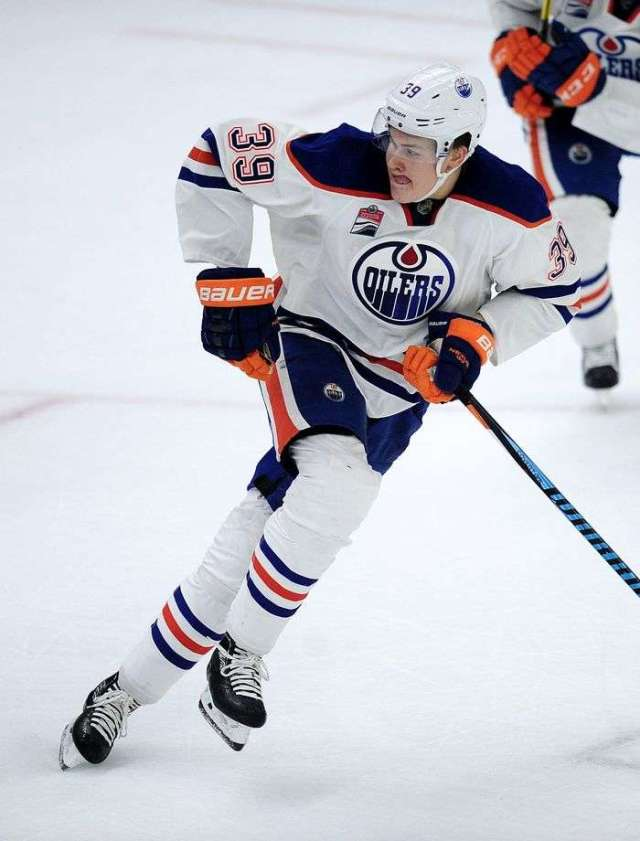 Edmonton Oilers' Jesse Puljujarvi (39) on the move against the Vancouver Canucks during third period 2016 NHL Young Stars Classic action at the South Okanagan Events Centre in Penticton, BC., September 16, 2016.