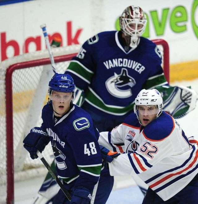 Vancouver Canucks' Olli Joulevi (48) in fron of the goal with Edmonton Oilers' Patrick Russel (52) during second period 2016 NHL Young Stars Classic action at the South Okanagan Events Centre in Penticton, BC., September 16, 2016.