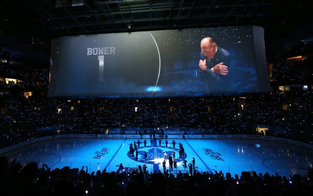 TORONTO, ON - OCTOBER 15: Former Toronto Maple Leafs player Johnny Bower has his number retired during the opening ceremony for the Leafs 100th season at the Air Canada Centre on October 15, 2016 in Toronto, Ontario, Canada. (Photo by Kevin Sousa/NHLI via Getty Images)
