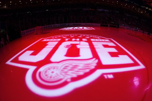 DETROIT, MI - OCTOBER 17: The ice is lighted during the opening night pre-game show prior to an NHL game between the Detroit Red Wings and the Ottawa Senators at Joe Louis Arena on October 17, 2016 in Detroit, Michigan. (Photo by Dave Reginek/NHLI via Getty Images)