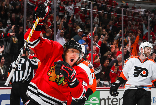 CHICAGO, IL - OCTOBER 18: Marian Hossa #81 of the Chicago Blackhawks reacts after scoring his 500th goal, as Andrew MacDonald #47 of the Philadelphia Flyers stands behind, in the second period at the United Center on October 18, 2016 in Chicago, Illinois. (Photo by Chase Agnello-Dean/NHLI via Getty Images)