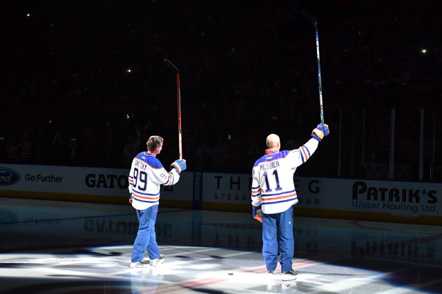 EDMONTON, AB - OCTOBER 12: Wayne Gretzky and Mark Messier salute the fans prior to the season opener between the Edmonton Oilers and the Calgary Flames on October 12, 2016 at Rogers Place in Edmonton, Alberta, Canada (Photo by Andy Devlin/NHLI via Getty Images)