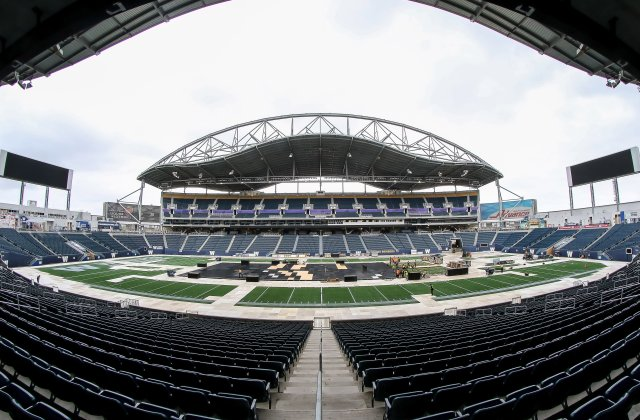WINNIPEG, MB - OCTOBER 11: A look at field level as workers prepare for the buildout for the 2016 Tim Hortons NHL Heritage Classic the on October 11, 2016 at Investors Group Field in Winnipeg, Manitoba, Canada.  (Photo by Jonathan Kozub/NHLI via Getty Images)
