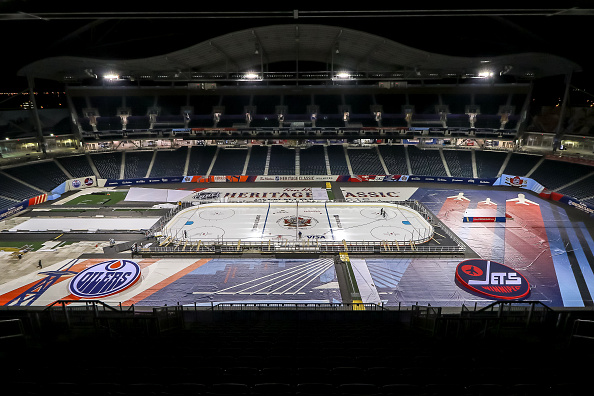 WINNIPEG, MB - OCTOBER 18: A look at field level after installation of the lines and logos into the ice surface in advance of the 2016 Tim Hortons Heritage Classic on October 18, 2016 at Investors Group Field in Winnipeg, Manitoba, Canada. (Photo by Jonathan Kozub/NHLI via Getty Images)