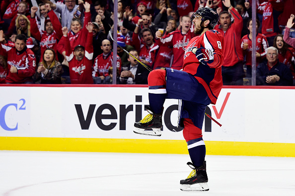 WASHINGTON, DC - NOVEMBER 23: Alex Ovechkin #8 of the Washington Capitals celebrates after scoring a goal against the St. Louis Blues in the first period during a NHL game at Verizon Center on November 23, 2016 in Washington, DC. (Photo by Patrick McDermott/NHLI via Getty Images)
