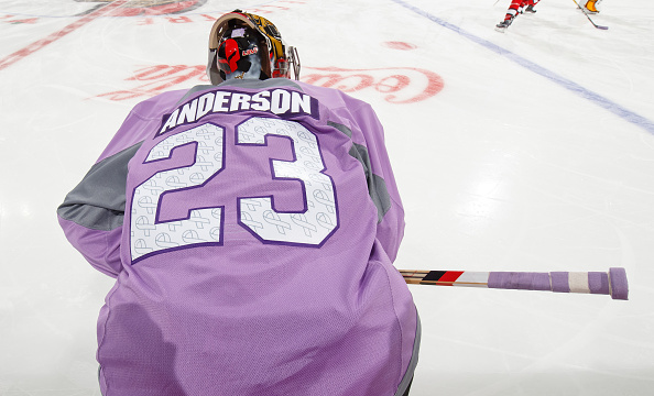 OTTAWA, ON - NOVEMBER 5: On Hockey Fights Cancer night, Craig Anderson #41 of the Ottawa Senators wears the number 23 on his lavender jersey during warmup in honor of his wife, Nicholle Anderson (23 is her favorite number), who was recently diagnosed with cancer, prior to a game against the Buffalo Sabres at Canadian Tire Centre on November 5, 2016 in Ottawa, Ontario, Canada. (Photo by Andre Ringuette/NHLI via Getty Images)