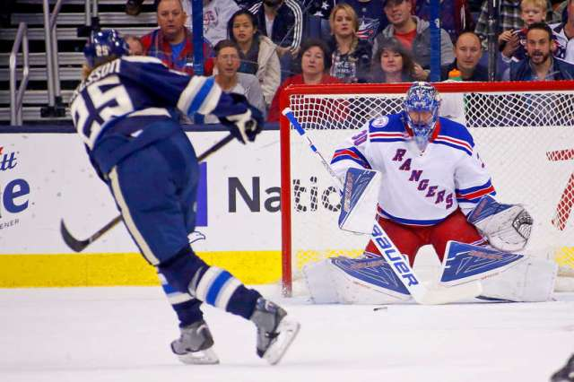 COLUMBUS, OH - NOVEMBER 18: William Karlsson #25 of the Columbus Blue Jackets beats Henrik Lundqvist #30 of the New York Rangers for a goal during the first period on November 18, 2016 at Nationwide Arena in Columbus, Ohio. (Photo by Kirk Irwin/Getty Images)