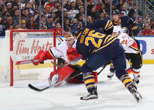 BUFFALO, NY - NOVEMBER 21: Matt Moulson #26 of the Buffalo Sabres scores a second period goal against Brian Elliott #1 of the Calgary Flames during an NHL game at the KeyBank Center on November 21, 2016 in Buffalo, New York. (Photo by Rob Marczynski/NHLI via Getty Images)