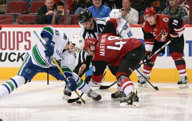 GLENDALE, AZ - NOVEMBER 23: Michael Chaput #45 of the Vancouver Canucks and Jordan Martinook #48 of the Arizona Coyotes battle for a faceoff during the third period at Gila River Arena on November 23, 2016 in Glendale, Arizona. (Photo by Norm Hall/NHLI via Getty Images)