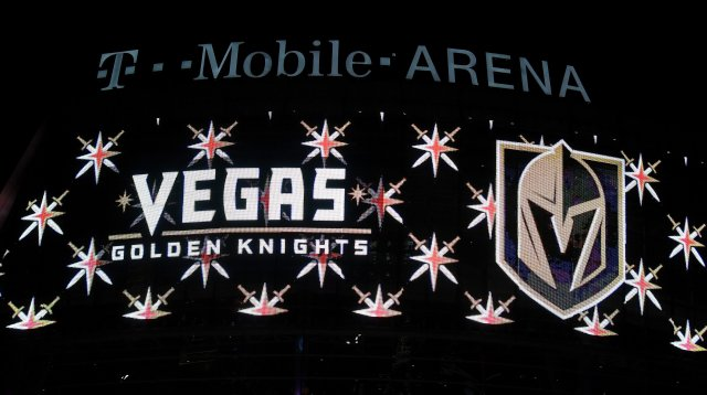 LAS VEGAS, NV - NOVEMBER 22:  The team name and logo for the Vegas Golden Knights are displayed on T-Mobile Arena's video mesh wall after the Vegas Golden Knights was announced as the name for the Las Vegas NHL franchise at T-Mobile Arena on November 22, 2016 in Las Vegas, Nevada. The team will begin play in the 2017-18 season.  (Photo by Ethan Miller/Getty Images)