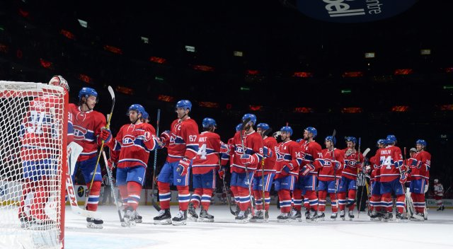MONTREAL, QC - NOVEMBER 24: The Montreal Canadiens celebrate after defeating the the Carolina Hurricanes in the NHL game at the Bell Centre on November 24, 2016 in Montreal, Quebec, Canada. (Photo by Francois Lacasse/NHLI via Getty Images)