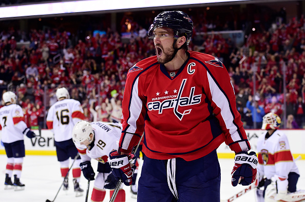WASHINGTON, DC - NOVEMBER 05: Alex Ovechkin #8 of the Washington Capitals celebrates his third period goal against the Florida Panthers during a NHL game at Verizon Center on November 5, 2016 in Washington, DC. (Photo by Patrick McDermott/NHLI via Getty Images)
