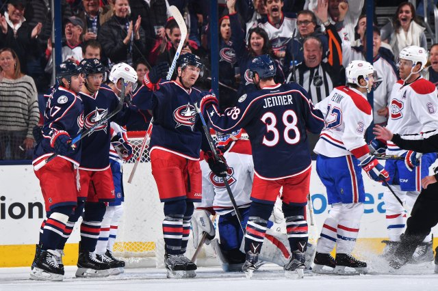 COLUMBUS, OH - NOVEMBER 4: Scott Hartnell #43 of the Columbus Blue Jackets celebrates his second period goal with teammates Brandon Dubinsky #17, Brandon Saad #20 and Boone Jenner #38 of the Columbus Blue Jackets during a game against the Montreal Canadiens on November 4, 2016 at Nationwide Arena in Columbus, Ohio.  (Photo by Jamie Sabau/NHLI via Getty Images)