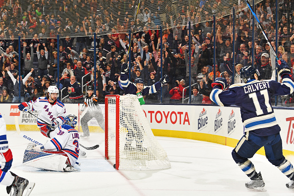 COLUMBUS, OH - NOVEMBER 18: Matt Calvert #11 of the Columbus Blue Jackets reacts after scoring the game-winning goal on goaltender Henrik Lundqvist #30 of the New York Rangers during a game on November 18, 2016 at Nationwide Arena in Columbus, Ohio. Columbus defeated New York 4-2. (Photo by Jamie Sabau/NHLI via Getty Images)