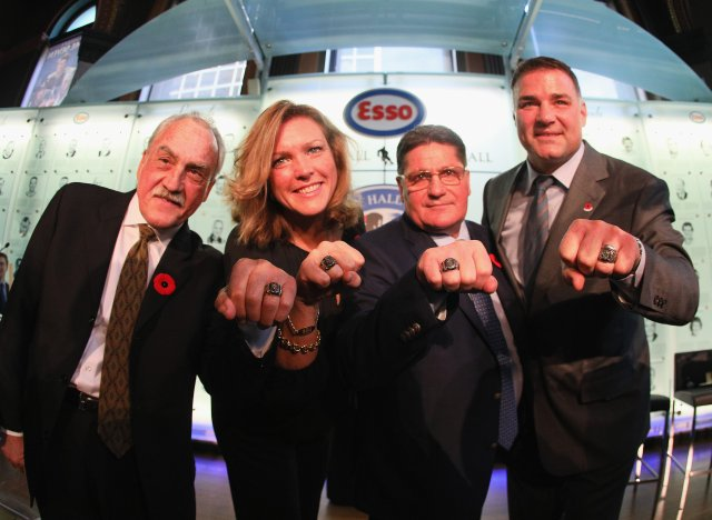 TORONTO, ON - NOVEMBER 11:  (L-R) Rogatien Vachon, Kalli Quinn representing the late Pat Quinn, Sergei Makarov and Eric Lindros, take part in a Hall of Fame Induction photo opportunity at the Hockey Hall Of Fame on November 11, 2016 in Toronto, Canada.  (Photo by Bruce Bennett/Getty Images)