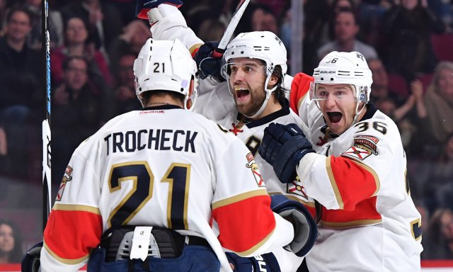 MONTREAL, QC - NOVEMBER 15: Aaron Ekblad #5 of the Florida Panthers celebrates after scoring a goal against the Montreal Canadiens in the NHL game at the Bell Centre on November 15, 2016 in Montreal, Quebec, Canada. (Photo by Francois Lacasse/NHLI via Getty Images)