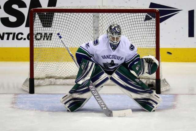 WASHINGTON, DC - DECEMBER 11: Goalie Thatcher Demko #35 of the Vancouver Canucks warms up on the ice before the start of their game against the Washington Capitals at Verizon Center on December 11, 2016 in Washington, DC. (Photo by Rob Carr/Getty Images)