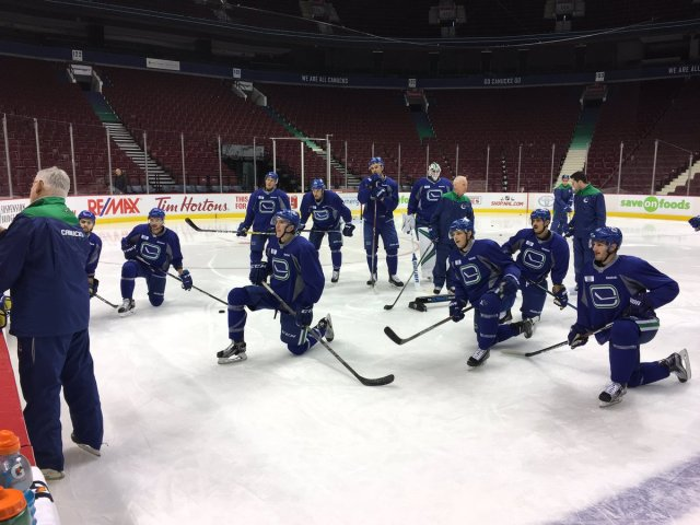 Optional Canucks morning skate featuring 10 skaters and Markstrom.