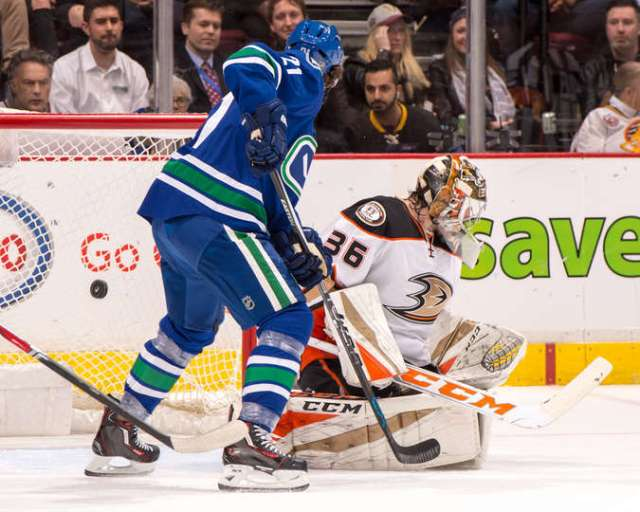 VANCOUVER, BC - DECEMBER 30: Loui Eriksson #21 of the Vancouver Canucks watches the puck flip behind John Gibson #36 of the Anaheim Ducks for a goal during their NHL game at Rogers Arena December 30, 2016 in Vancouver, British Columbia, Canada. (Photo by Derek Cain/NHLI via Getty Images)