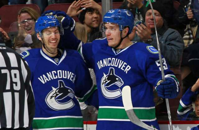VANCOUVER, BC - JANUARY 2: Bo Horvat #53 celebrates the first NHL point of teammate Anton Rodin #17 of the Vancouver Canucks during the NHL game between the Colorado Avalanche and the Vancouver Canucks at Rogers Arena January 2, 2017 in Vancouver, British Columbia, Canada. (Photo by Jeff Vinnick/NHLI via Getty Images)