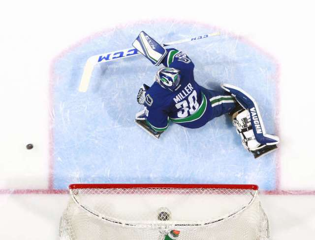 VANCOUVER, BC - JANUARY 2: Ryan Miller #30 of the Vancouver Canucks during their NHL game against the Colorado Avalanche at Rogers Arena January 2, 2017 in Vancouver, British Columbia, Canada. Vancouver won 3-2 and Miller recorded his 350th NHL win. (Photo by Jeff Vinnick/NHLI via Getty Images)