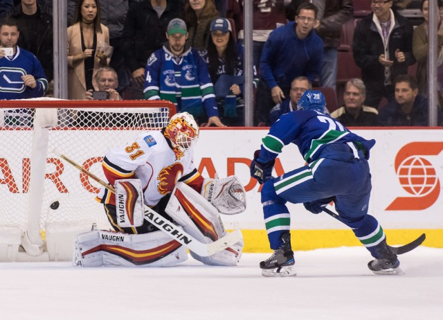 Brandon Sutter #20 of the Vancouver Canucks scores the game winning goal against goaltender Chad Johnson #31 of Calgary Flames during a shootout of their NHL game at Rogers Arena on October 15, 2016 in Vancouver, British Columbia, Canada. (Oct. 14, 2016 - Source: Ben Nelms/Getty Images North America)