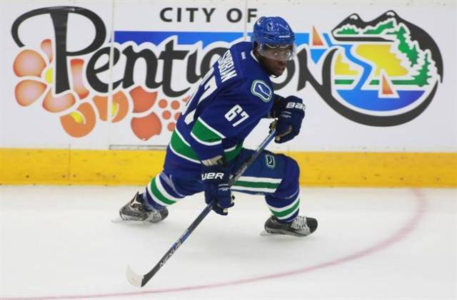 Vancouver Canucks' Jordan Subban skates during action at the NHL Young Stars tournament in Penticton B.C. on Sept 11, 2015. THE CANADIAN PRESS/Jeff Bassett