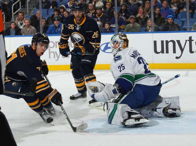 BUFFALO, NY - FEBRUARY 12: Evan Rodrigues #71 and Matt Moulson #26 of the Buffalo Sabres look for a rebound from Jacob Markstrom #25 of the Vancouver Canucks during an NHL game at the KeyBank Center on February 12, 2017 in Buffalo, New York. (Photo by Bill Wippert/NHLI via Getty Images)