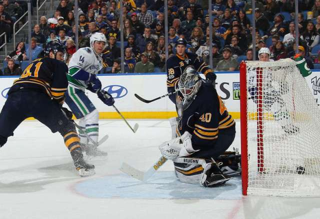 BUFFALO, NY - FEBRUARY 12: Alexandre Burrows #14 of the Vancouver Canucks scores a second period goal against Robin Lehner #40 of the Buffalo Sabres during an NHL game at the KeyBank Center on February 12, 2017 in Buffalo, New York. (Photo by Bill Wippert/NHLI via Getty Images)