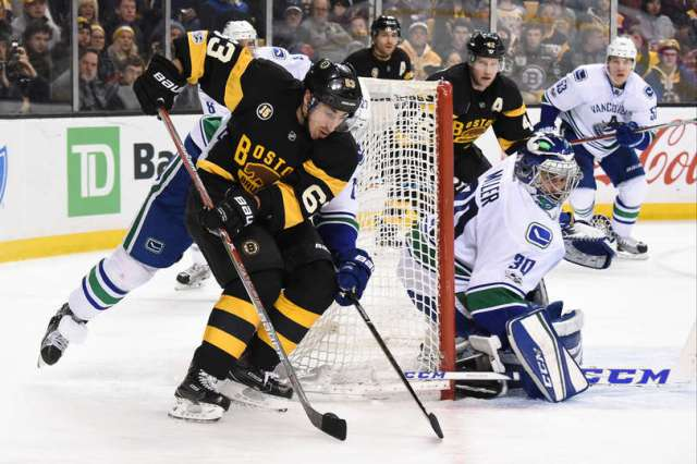 BOSTON, MA - FEBRUARY 11: Brad Marchand #63 of the Boston Bruins handles the puck against Ryan Miller #30 of the Vancouver Canucks at the TD Garden on February 11, 2017 in Boston, Massachusetts. (Photo by Brian Babineau/NHLI via Getty Images)